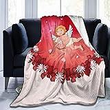 269 Manta de franela para el día de San Valentín, diseño de corazones y cupidos, suave, ligera, cálida y acogedora para niños y niñas grandes (152 x 203 cm)