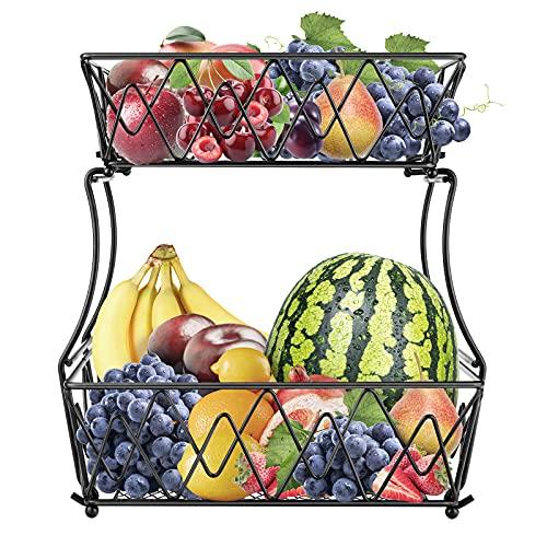 Fruteros de Cocina Modernos, Cesta de Frutas y Vegetales de Metal, Frutero Multifuncional de Hierro, Frutero 2 Pisos para más Espacio en la encimera