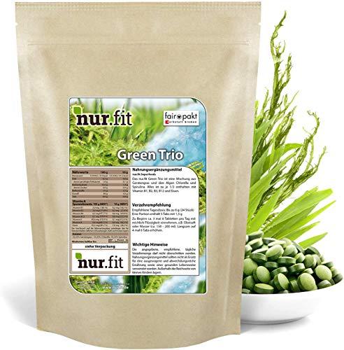 nur.fit by Nurafit Green Trio Tabletten 1kg / 4000 Stück – rein natürliche Presslinge aus Gerstengras, Chlorella und Spirulina – hochdosierte Greens Tabs in Rohkostqualität – vegan Superfood