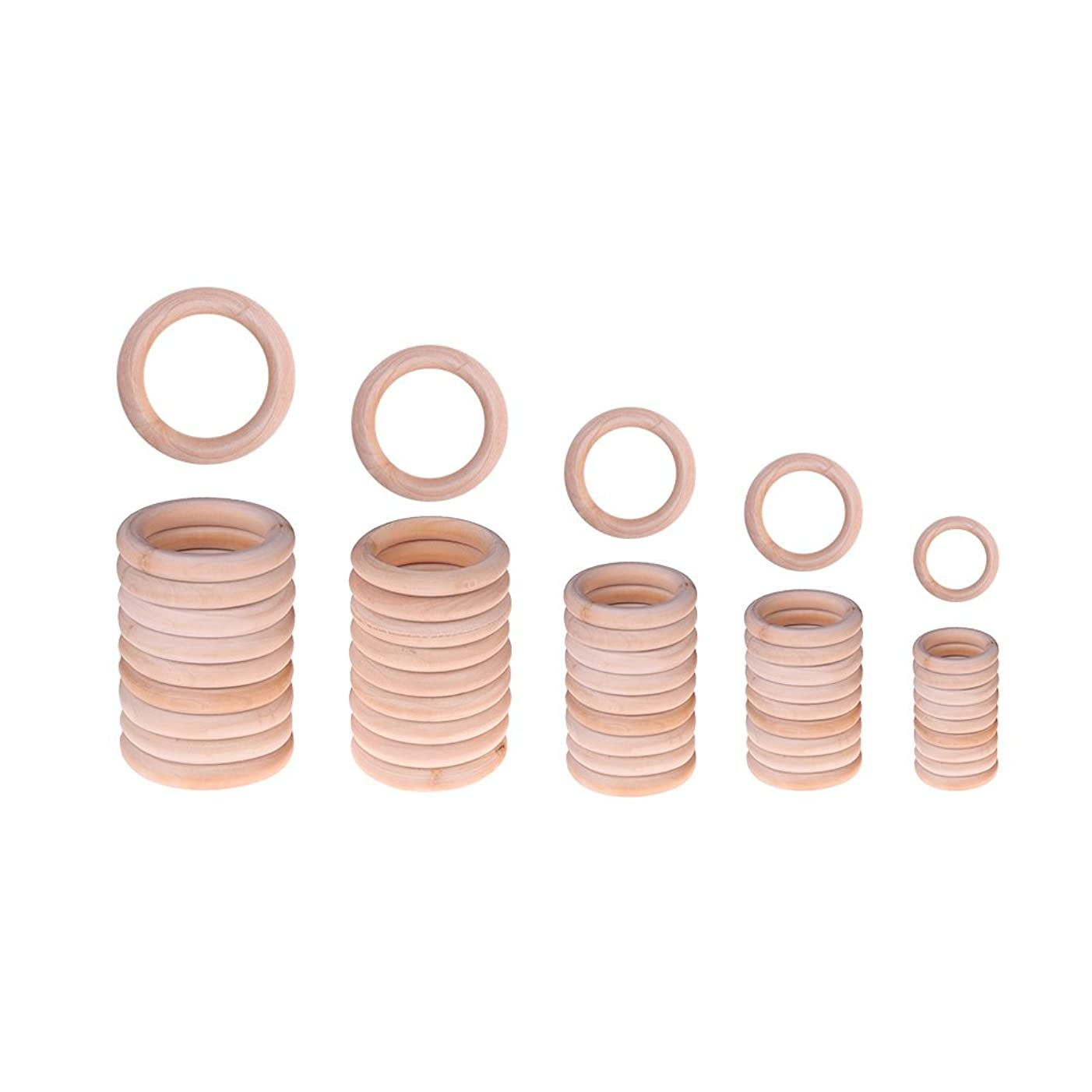FANKUTOYS 50 Pieces Unfinished Solid Wooden Rings Natural Wood Ring for Craft, Ring Pendant and Connectors Jewelry Making