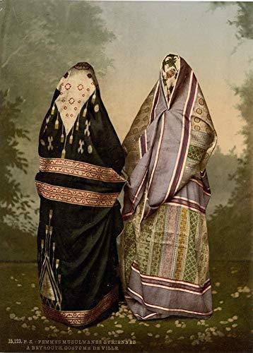 Mahomedan - Disfraz de mujer en la ciudad, foto antigua de Tierra Santa, 1890, reproduccin de 200 g/m, A3, Israel, Palestina, pster de viaje vintage