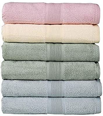Soft Bath Towels - Lightweight Absorbent Bathroom Bamboo Towel | 27 x 54 Inches | 6 Pack | Quick Dry (Multicolor, Bath Towel)