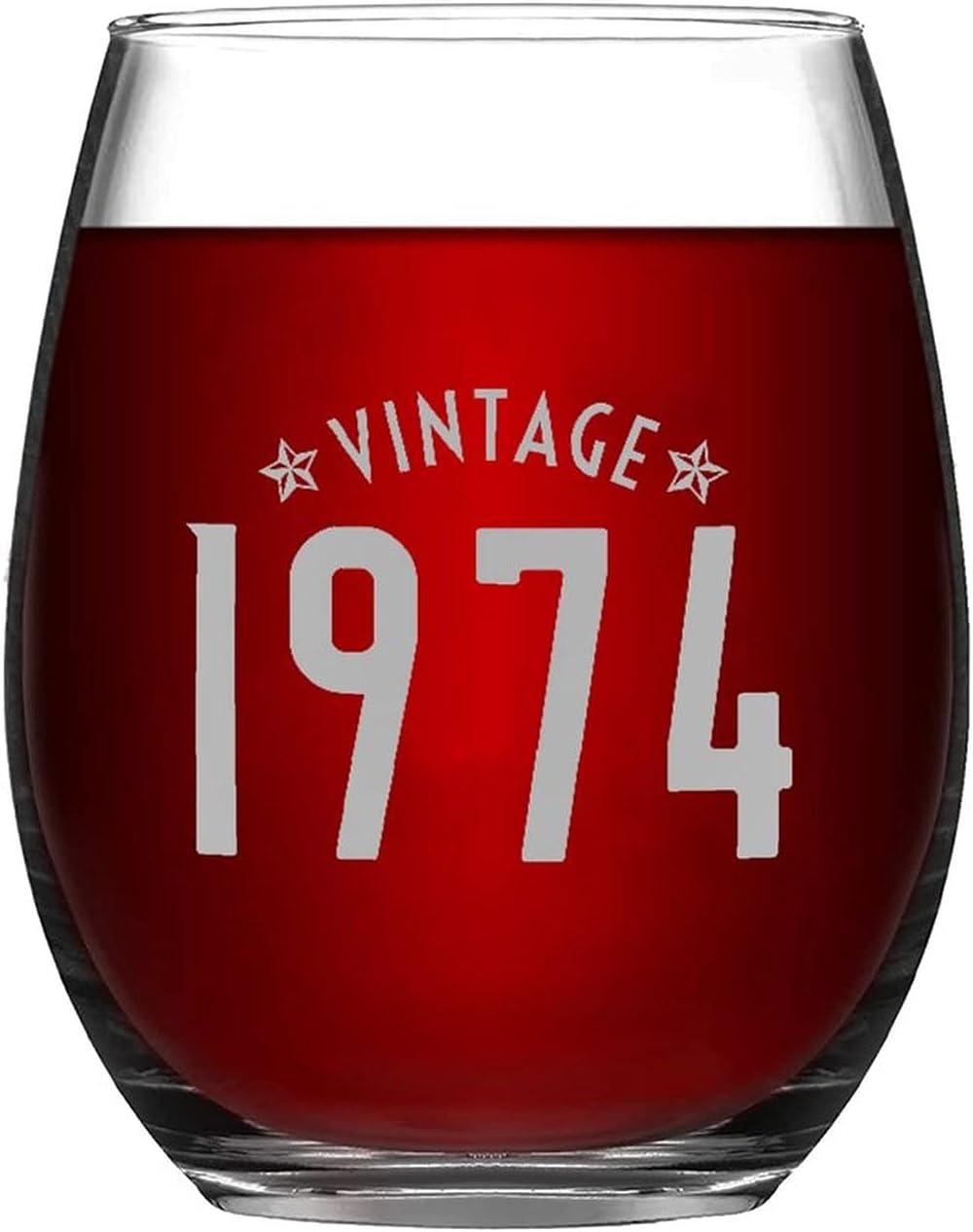Funny Stemless Birthday Wine Save money Glass 11oz Branded goods 74 Vintage Drin Fabulous