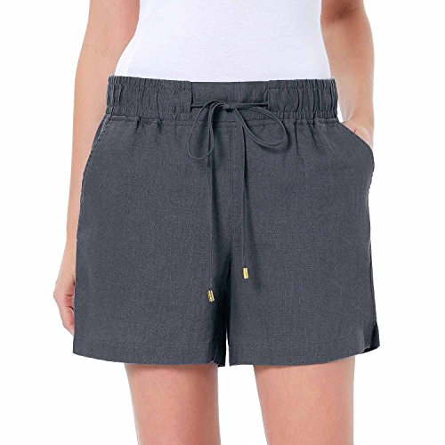 Ellen Tracy Company Women's Drawstring Waist Linen Shorts (X-Large, Iron)