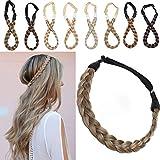 Extensions Haarband geflochtene Braids Haar Haarverlängerung verstellbare Stirnband elastische Stretch Haarteil Beauty-Accessoire für Frauen Kastanienbraun & Aschblond S-1.5cm(0.6') -27g