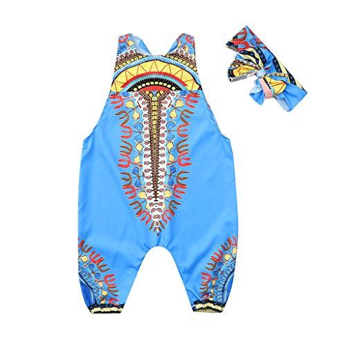 YWLINK Conjuntos NiñA,Verano Estilo Nacional Ropa Infantil del Mono del Mameluco del Estampado Africano Sin Mangas+Banda De Pelo Conjunto De 2 Piezas La Moda Vestido De Fiesta