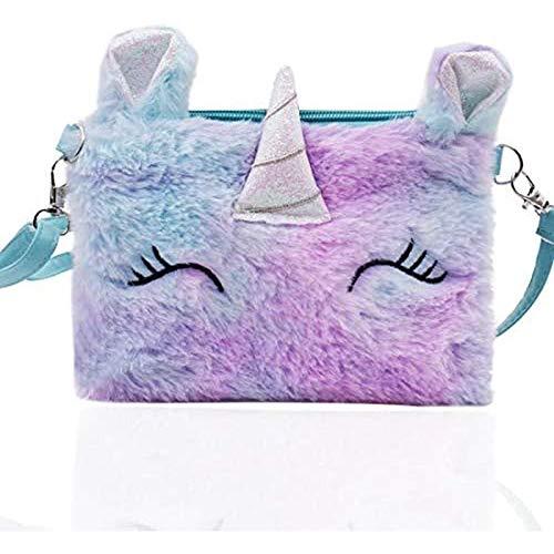 Mädchen Umhängetasche Einhorn Mini Plüsch Brieftasche Cartoon Tasche Kind Geschenk (lila)