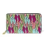 LORONA Cartera de piel con diseño de plumas rosas, con cremallera larga, para mujer, bolsa de viaje