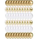 Ballon Dorés Anniversaire, 60 Pièces Or Confettis Ballons Helium, Ballon de Baudruche Dores Blanc, Métallique Ballons pour Mariage, Anniversaire, Baby Shower, Diplôme, Cérémonie Décorations de Fête