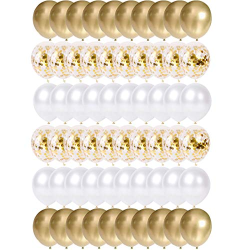 O-Kinee Globos de Confeti Dorados, 60 Piezas Globos Metalizados Oro y Latex Blancos, para Cumpleaños, Bodas Aniversario, Bautizos Comunion Baby Shower, Graduacion Fiesta Decoracion