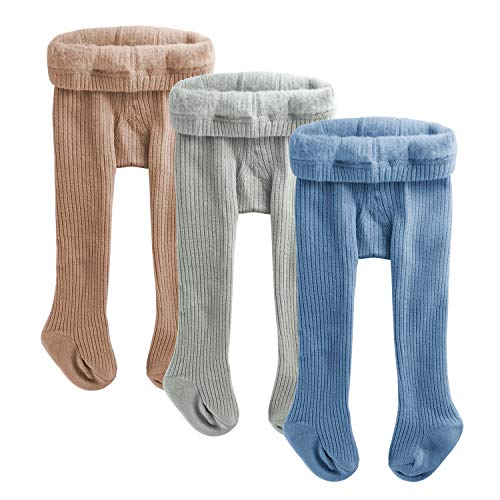 OioTuyi Mallas de punto para bebés con forro polar, mallas de algodón sin costuras cálidas de invierno, paquete de 3 pantimedias para bebés recién nacidos niños pequeños 0-2Y#BGB-1-2Y