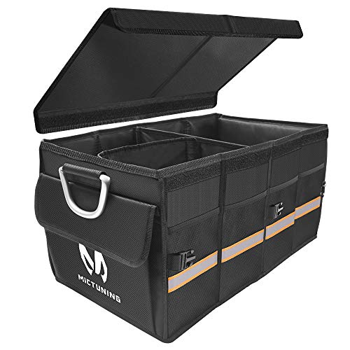 MICTUNING Car Trunk Organizer Cargo Storage Container Carrier with Multi Compartments, Foldable Cover, Aluminium Alloy Handle, Non Slip Bottom, Reflective Tape for SUV Truck