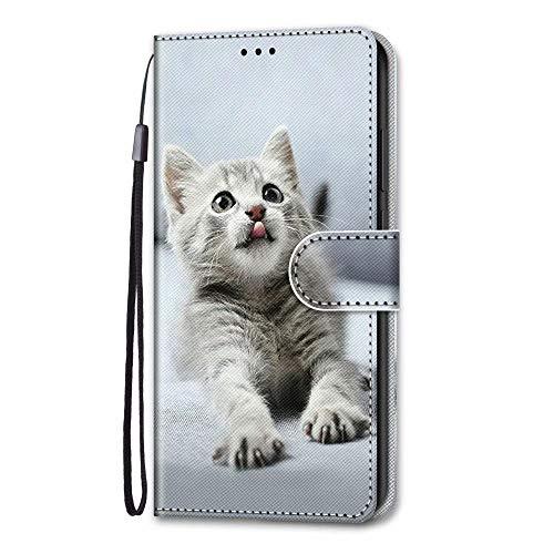 Nokia 2.3 Hülle, Nokia 2.3 Handyhülle mit Kartenfach Geld Slot Ständer Magnet PU Ledertasche TPU Bumper Wallet Case Flip Tasche Schutzhülle Handytasche für Nokia 2.3 Süße Katze