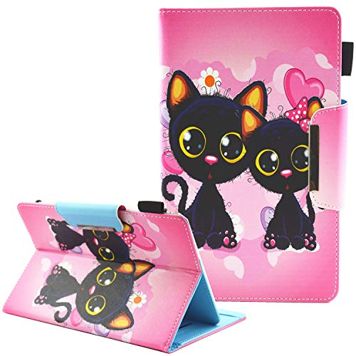 Junhamor - Funda de protección universal para ARCHOS 101C Oxygen, ARCHOS Core 101 3G V2 10.1, ARCHOS 97C Platinum 9.7' Flip Folio Stand Cover(doble Cats)