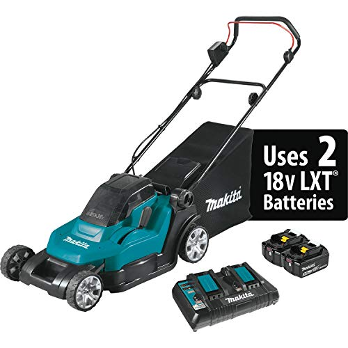 "Makita XML05PT (36V) Lithium-Ion Cordless 18V X2 LXT 17"" Residential Lawn Mower Kit (5.0Ah), Teal"