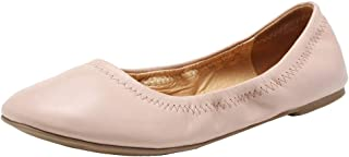 FANTURE Women's Ballet Flat Lambskin Loafers Classic Round Toe Ballerina Casual Ladies Leather Shoes Foldable Portable Travel Roll Up Slipper for Women and GirlU419WZPPDX-Nude-38