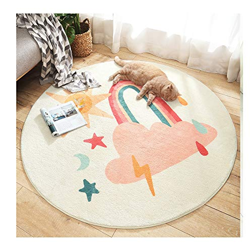 Poitemsic 4Ft Cartoon Clound Round Play Area Rug Kids Non-Slip Living Room Rugs Soft Floor Carpet For Girls Boys Bedroom Playroom Nursery Decoration