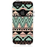 Unnito iPhone 5 Case - Commuter Case for iPhone 5S Case - Hybrid Slim Cover with Hard Shell and Soft Inner Layer for Apple iPhone 5 / 5S / SE White Case - Native Aztec Wood