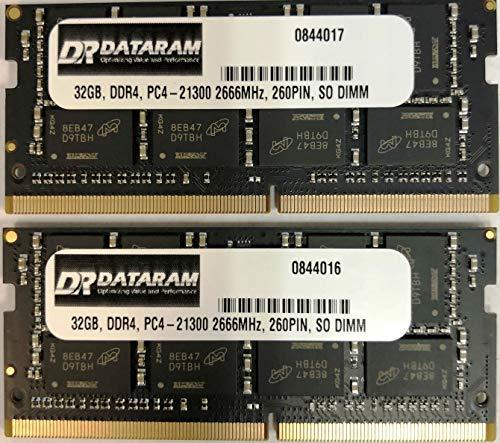 DATARAM 64 Go de mémoire RAM (2 x 32 Go) DDR4 2666 MHz PC4-21300 CL19 SO DIMM Compatible avec Apple Mac Mini 8,1 A1993