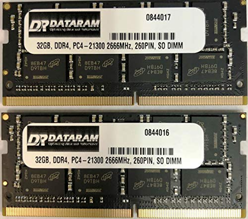 DATARAM 64 GB RAM Upgrade (2 x 32 GB) DDR4 2666 MHz PC4-21300 CL19 SO DIMM kompatibel mit dem 2018 Apple Mac Mini 8,1 A1993