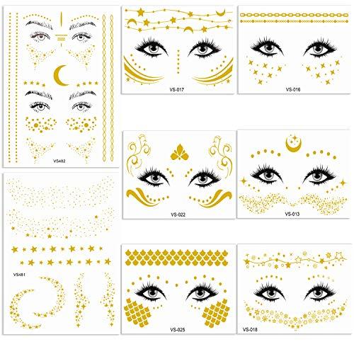 Hoiny Tätowierungsaufkleber Metallic,8 Set Temporäre Tattoos Wasserdicht Gesicht Gold Sticker für Girls and Young Women in Augen and Faces Party Festival Shows