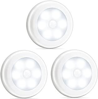 Novelty Place Super Bright LED Motion Sensor Lights - Cordless Battery Powered Built-in Magnets Optional Sticky Pads - Motion Sensing Bathroom Hallway Closet Nightlight - Pack of 3