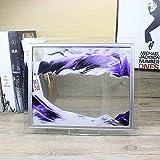 Imagen Arena Dinámica 3D, Pantalla Paisaje Natural Vidrio Cuadrado en Movimiento, Marco Arena Fluida, Juguete Relajante Artístico, Arte Escritorio en Movimiento,Púrpura,10 Inch