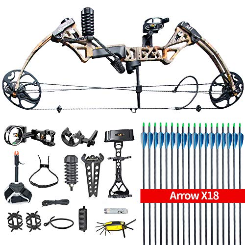 HYF Compound Hunting Bow Kit: USA Gordon Limbs,Fully Adjustable 19-30' Draw 19-70Lbs,IBO Rate...