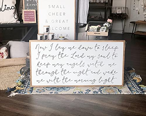 by Unbranded Wood Sign Now I online Excellence shopping Lay Me to Down Si Sleep Framed
