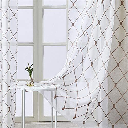 Geometrische geborduurde korte vitrages Tule raamgordijnen voor keuken Woonkamer Slaapkamer Voile voor café, bruin, B100xH130cm (39x51in)