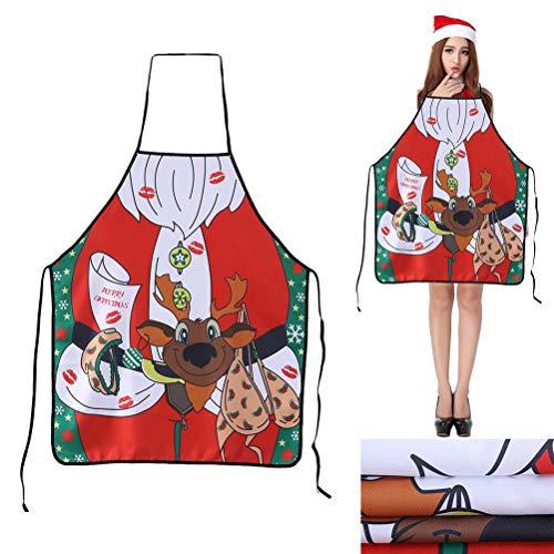 Ourine Kreative Weihnachtsschürze, Kreative Weihnachtsschürze Paar Sexy Uniformen Versuchung Kleid für Zuhause Neujahrsgeschenke Farbe Sortiert 04