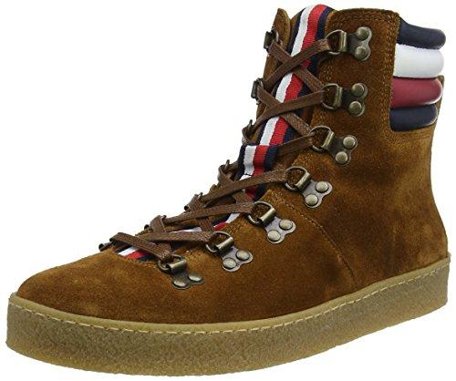 Tommy Hilfiger Herren Crepe Outsole Hiking HYBRID Boot Sneaker, Braun (Cognac 606), 46 EU