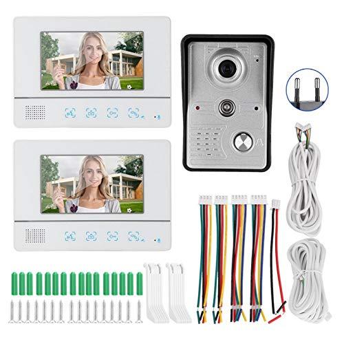 7in Video Timbre Intercomunicador 2 Monitores Pantalla TFT Sistema de Control Remoto de Visión Nocturna 100-240V(Estándar Europeo (110-240 V))