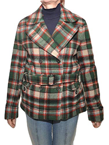 Polo Ralph Lauren Double-Breast Plaid Belted Wool Coat, Green/Red, 14