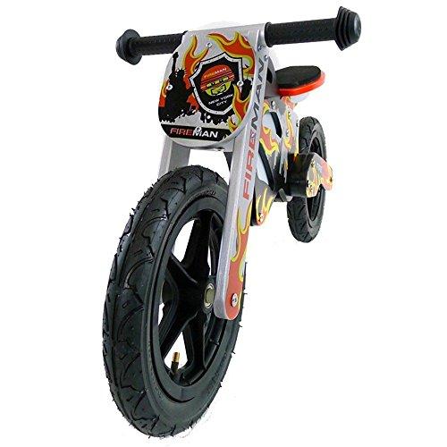 Balance 12 Zoll pour enfants, roue GTX en bois avec des pneus, plusieurs designs, Modèle:Fireman