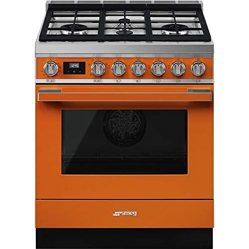 Smeg Portofino Aesthetic Pro-Style 30-Inch Freestanding Dual Fuel Range (Orange)