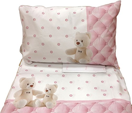 Lenzuolo letto baby con sponde CREMINO ROSA (sopra lenzuolo 120x180 + sottol 60x130 + 1 federa 40x60)