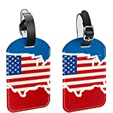 Bandera de mapa estadounidense de Estados Unidos, 2 piezas, etiqueta de identificación de equipaje, etiquetas de equipaje para evitar la pérdida de bolsas y maletas