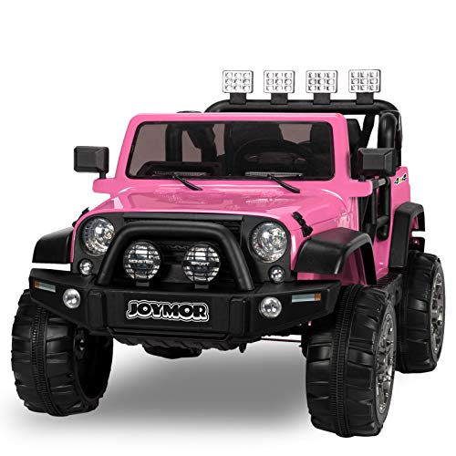 JOYMOR 12V Ride on Truck, Extra Wider Seat Kids Electric Battery Powered Car w/ 2.4G Remote Control, Motorized Toddler Vehicles Truck Toy, Adjustable Speeds, MP3 Player, LED, Horn (Pink)