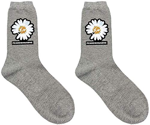 / Mazhangqiche Stylisch G-Dragon Klein Daisy Bedruckte Baumwolle Socken Sports Socken Atmungsaktiv Sweat Dämpfung Süß Socken Herren Damen Jungen Mädchen Grey-1,