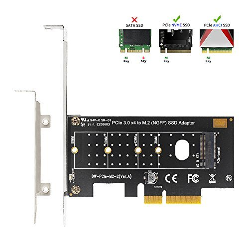 QNINE NVME PCIe Adapter, M.2 PCIe NVMe SSD M Key to PCI Express 3.0 x2 Expansion Card with Low Profile Bracket for PC Desktop