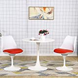 STYLIFING 3 Pieces Dining Set Mid-Century Modern Round Dining Table and 2 Swivel Faux Leather Upholstered Dining Chairs in Red
