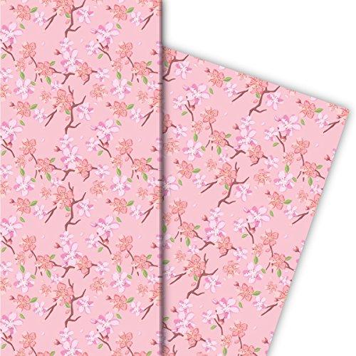 Kartenkaufrausch Frühlings Geschenkpapier Set mit japanischer Kirschblüte für liebe Geschenkverpackung, DIY Projekte, Basteln, 4 Bögen, 32 x 48cm Dekorpapier, Musterpapier zum Einpacken