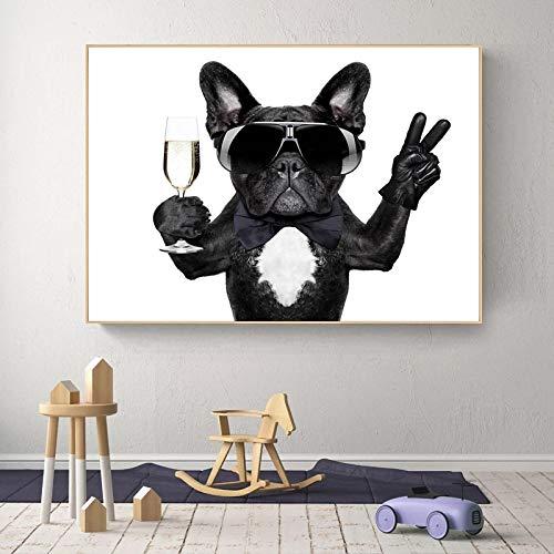 Lienzo de Pintura en la Pared para habitación de bebé, Carteles de Animales e Impresiones, Imagen de un Bulldog Bebiendo con Gafas de Sol, para decoración de la habitación de los niños, 60 x 90 cm