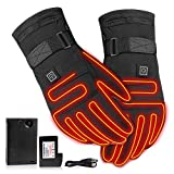 Sanmubo Battery Powered 3.7V Rechargeable Heated Gloves For Men/Women, Electric Heated Hand Warmer Waterproof Insulated For Outdoor Cycling Montorcycle Camping Hiking
