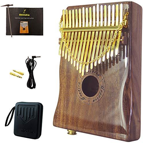 Moozica 17-Tasten-EQ Kalimba, Koa Ton Holz Electric Kalimba Daumen mit integriertem Tonabnehmer mit 6,35 mm Audio-Schnittstelle und professioneller Kalimba Tasche (K17KP-EQ(Klavierlack))