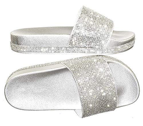 of forever women slippers Forever Link Viste-07 Rhinestone Glitter Slide Slip On Flatform Footbed Sandal Slippers
