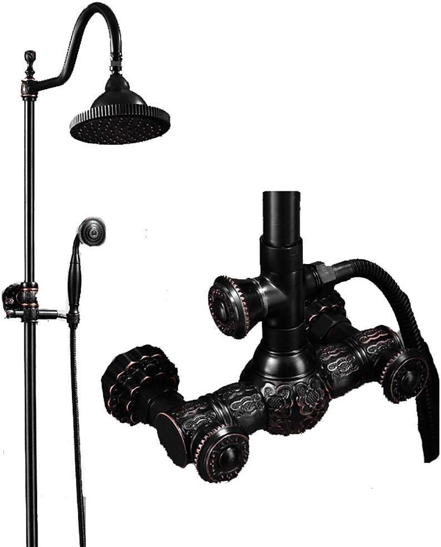 Thermostat-Duschsets Duschset European Copper Wand-Handbrause für Badezimmer Kalt-   Warmwasserhahn, 5 Ausführungen, 80-120 cm heben (Farbe   schwarz, Größe   E)