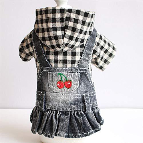 Warme honden trui kattenkleding,Kleding voor huisdieren, teddy puppy, zwart-wit geruite geborduurde spijkerrok-spijkerrok_L