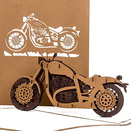 """Pop Up Karte\""""Motorrad - Harley Davidson\"""" - 3D Card Motorbike – Einladung, Geburtstagskarte & Gutschein zu Führerschein, Motorrad Ausflug – Motorradkarte"""